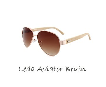 Houten zonnebril: Leda Aviator Bruin