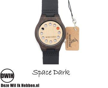 Houten horloge:  Space dark