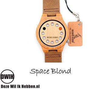 Houten horloge:  Space  Blond