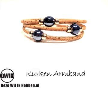kurken Armband 10 met paarse parel
