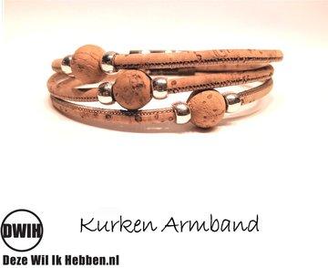 kurken Armband 11 met parel van kurk