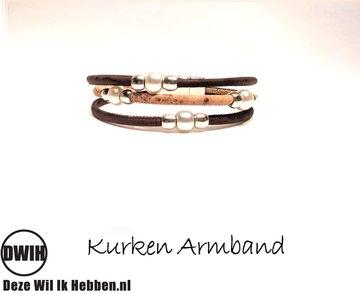 Gemengd kurken Armband 12 met parel