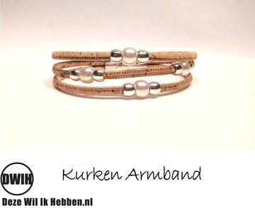 kurken Armband 13 met parel