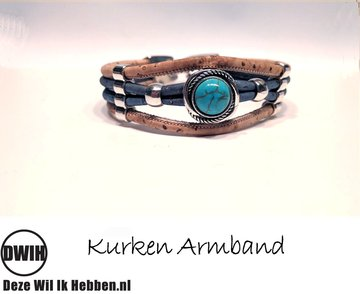 Kurken armband  14 naturel / blauw, blauwe ingelegde siersteen