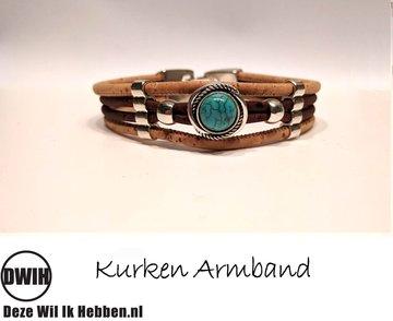 Kurken armband 15 naturel / bruin, ingelegde blauwe siersteen