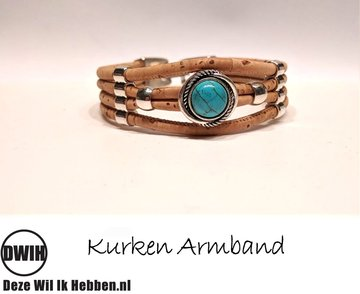 Kurken armband 16 naturel / naturel, ingelegde blauwe siersteen