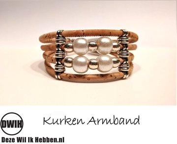 Kurken armband 17 naturel / naturel, 4 sierparels