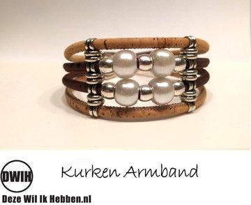 Kurken armband 18 naturel / bruin, 4 sierparels
