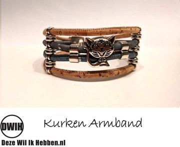 Kurken armband 19 naturel / blauw, poesje