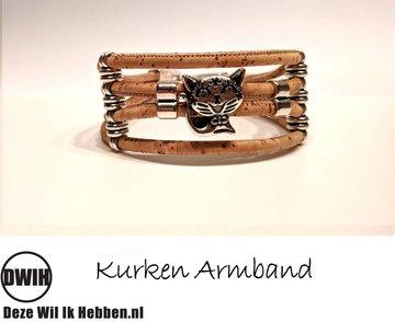 Kurken armband 20 naturel / naturel,  poesje