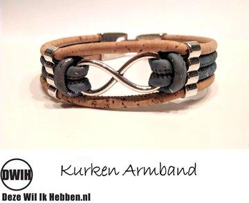 Kurken armband 21 naturel / Turquoise, Infinity