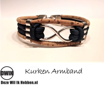 Kurken armband 22 naturel / donkerblauw, Infinity
