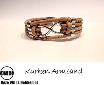Kurken armband 23 naturel / naturel,  Infinity