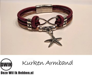 Kurken armband 24 naturel / Bordeaux  Zeester