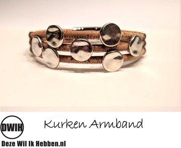 Kurken armband 28 naturel / naturel, 7 Dots