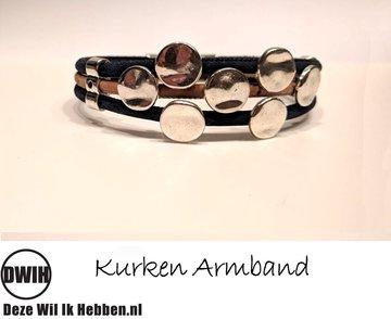 Kurken armband 29 naturel / blauw, 7 Dots