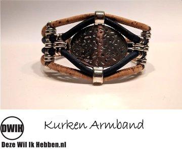 Kurken armband 35 naturel / blauw,  enkele ovaal