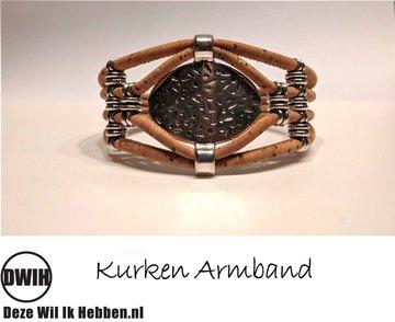 Kurken armband 36 naturel / naturel,  enkele ovaal