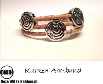 Kurken armband 37 naturel / naturel,  5 spiraal