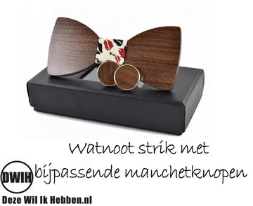 Walnoot strik met manchetknopen, Kiss