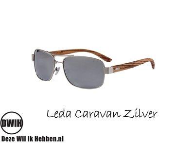 Houten zonnebril: Leda Caravan Zilver met gepolariseerde spiegelglazen