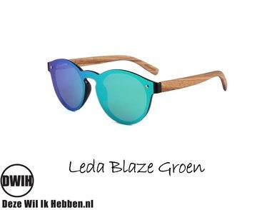 Houten zonnebril: Leda Blaze Groen met gepolariseerde spiegelglazen