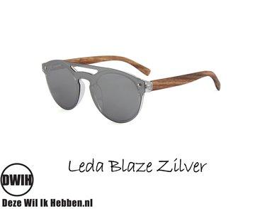Houten zonnebril: Leda Blaze Zilver met gepolariseerde spiegelglazen