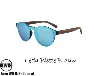 Houten zonnebril: Leda Blaze Blauw met gepolariseerde spiegelglazen