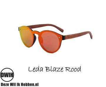 Houten zonnebril: Leda Blaze Rood met gepolariseerde spiegelglazen