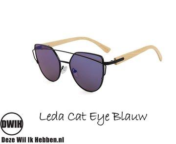 Houten zonnebril: Leda Cat Eye Blauw spiegelglas