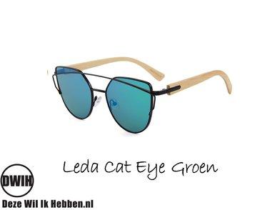 Houten zonnebril: Leda Cat Eye Groen spiegelglas