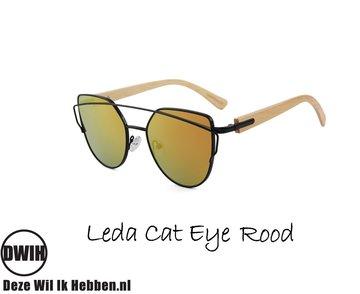Houten zonnebril: Leda Cat Eye Rood spiegelglas