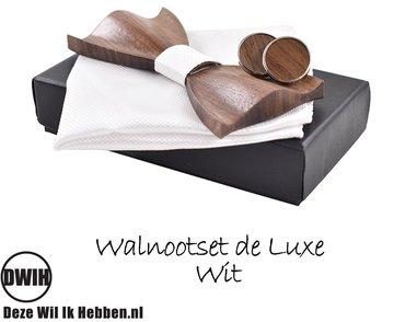 Walnoot strik deluxe met manchetknopen en Pochette, wit