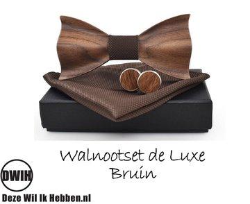 Walnoot strik deluxe met manchetknopen en Pochette, Bruin