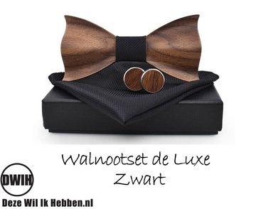 Walnoot strik deluxe met manchetknopen en Pochette, Zwart
