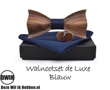 Walnoot strik deluxe met manchetknopen en Pochette, Blauw