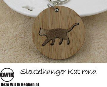 LaserWood Sleutelhanger Kat rond