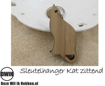 LaserWood Sleutelhanger Kat zittend