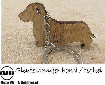 LaserWood Sleutelhanger hond / teckel