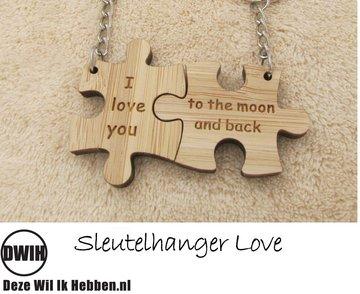LaserWood Sleutelhanger Love 1