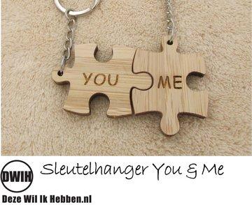 LaserWood Sleutelhanger You & Me