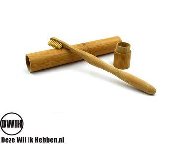 Bamboe tandenborstelhouder met gratis bamboe tandenborstel