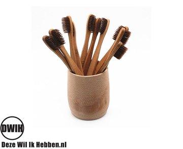 Bamboe Bruine Tandenborstel set van 2 stuks | Zacht/medium voor gevoelige tandvlees | Biologisch afbreekbaar