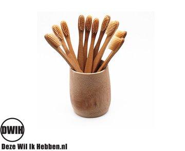 Bamboe Beige Tandenborstel set van 2 stuks | Zacht/medium voor gevoelige tandvlees | Biologisch afbreekbaar