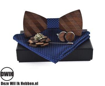 Walnoot strik met houten manchetknopen, Pochette en houten Reverse, Blauw