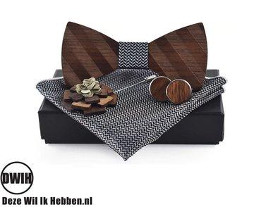 Walnoot strik met houten manchetknopen, Pochette en houten Reverse, Zwart / Wit