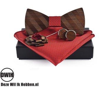 Walnoot strik met houten manchetknopen, Pochette en houten Reverse, Rood