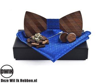 Walnoot strik met houten manchetknopen, Pochette en houten Reverse, lichtblauw