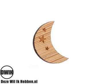 LaserWood Pin / Broche Maan