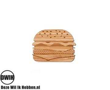LaserWood Pin / Broche Hamburger